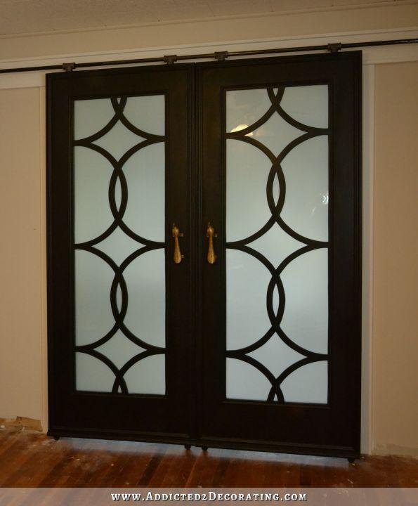 Diy Sliding French Barn Doors With Custom Fretwork Panels Diy Barn Door Diy Barn Door Hardware Cheap Barn Doors
