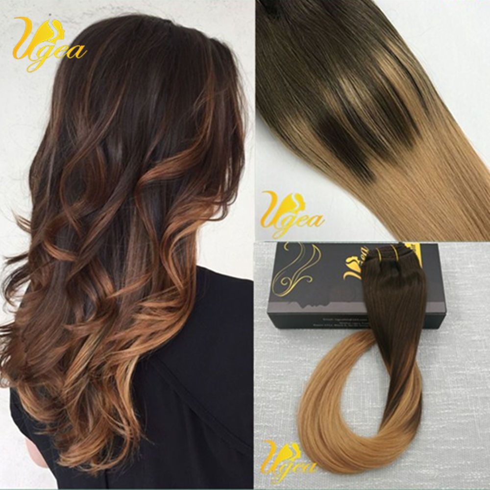 8a Balayage Brown Remy Dip Dyed Ombre Thick Clip In Human Hair