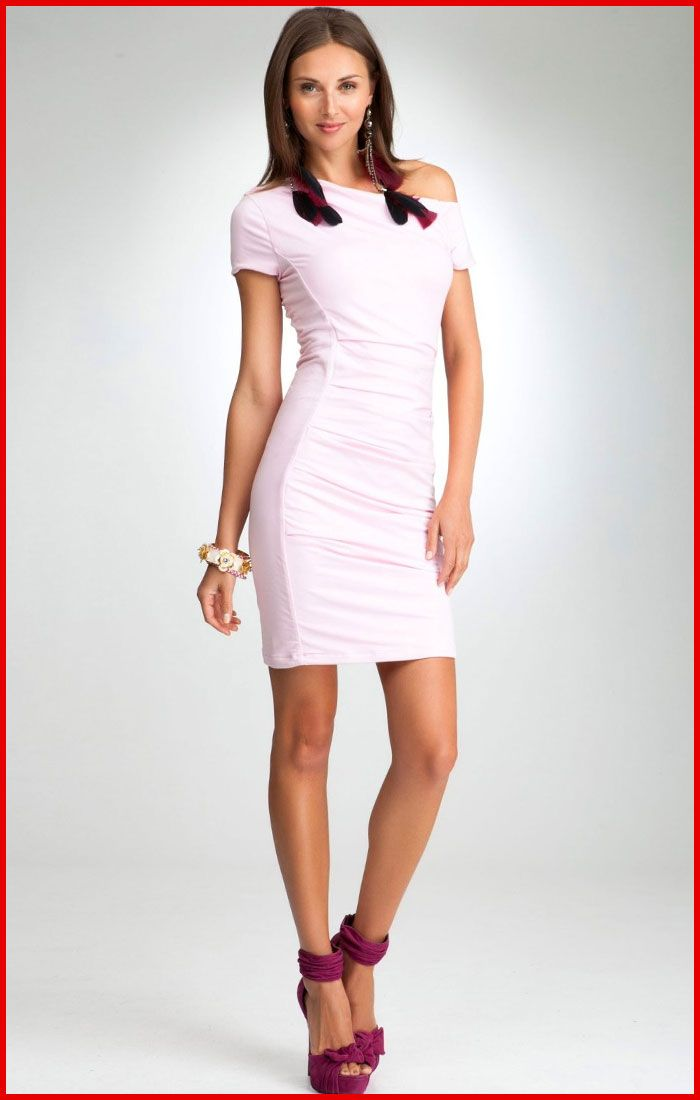 Bebe Pink Cocktail Dresses - Cotton, Asymmetric, Ruched panels, Off ...