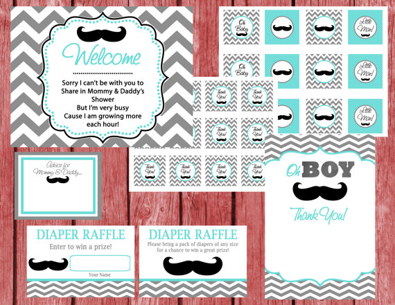 Instant Download Printable Little Man Theme Baby Shower Party