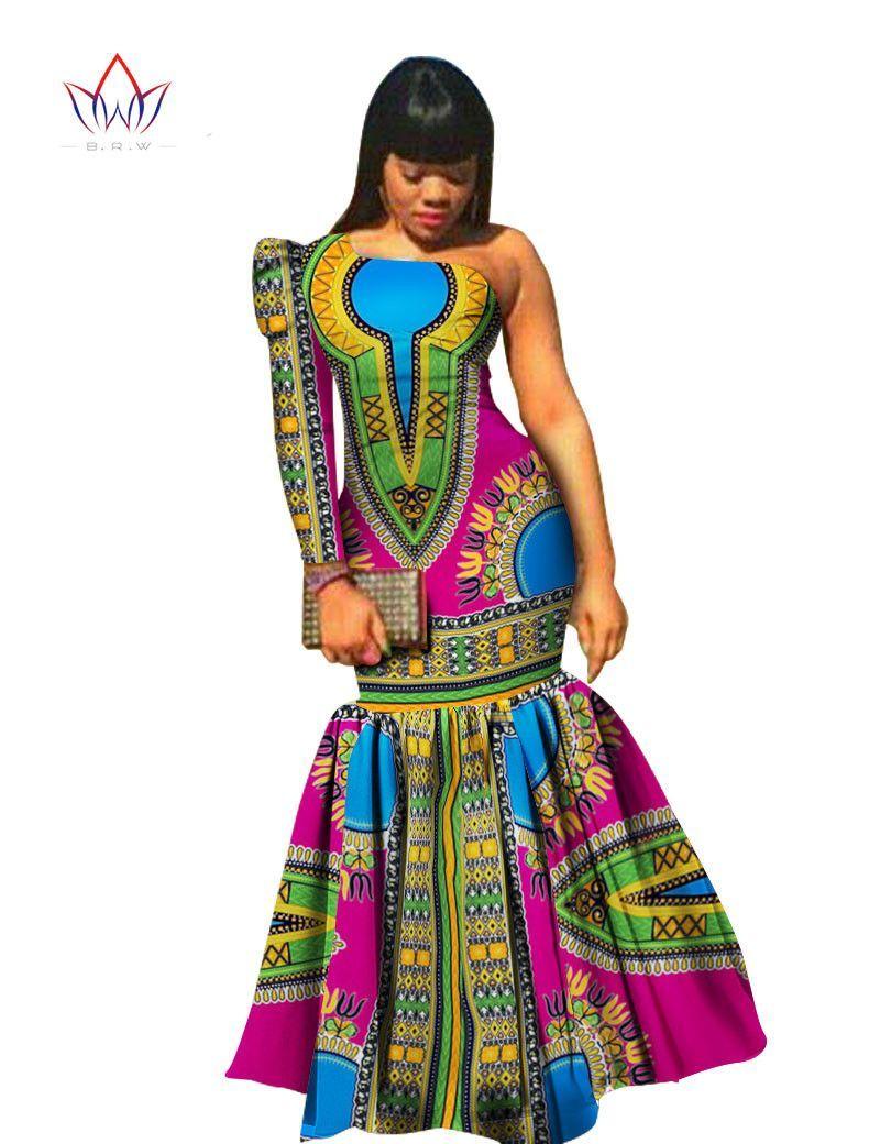 cd1c72e2c68b Fashion Women Dress Asymmetrical Offric Dress Brand Clothing Plus Size African  Print Dress Dashiki Mermaid Party Vestidos VWY346