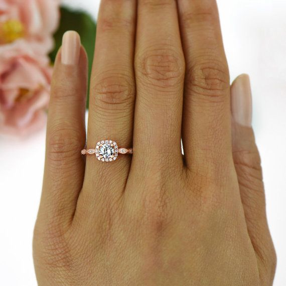 3 4 Ctw Halo Engagement Ring Man Made Diamond Simulants Art Deco