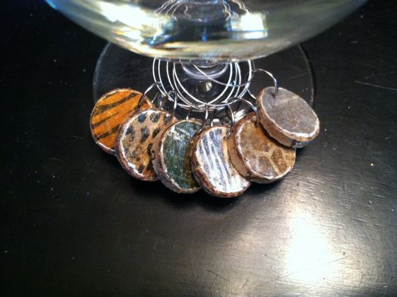 Animal Print Cork Wine Charms Drink Rings Tags by AccentsHomeDecor, $7.00