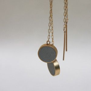 Round Step Earrings Gold-Plated by iDesign, concrete jewelry