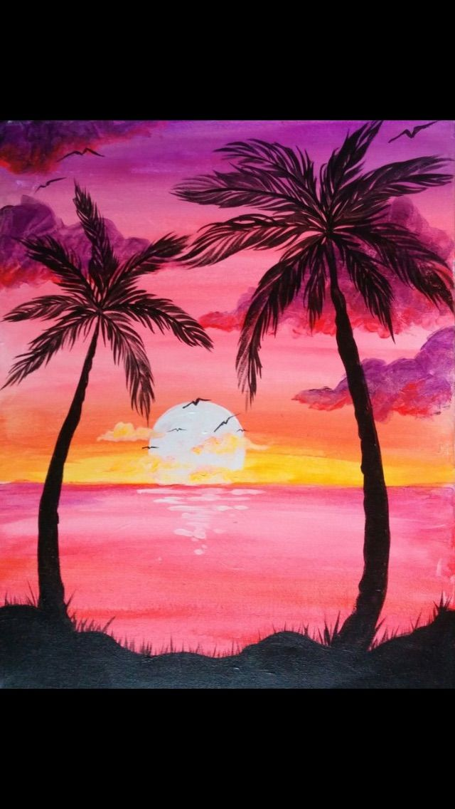 Palm Trees Pink Sky Sunset Painting Easy Canvas Painting