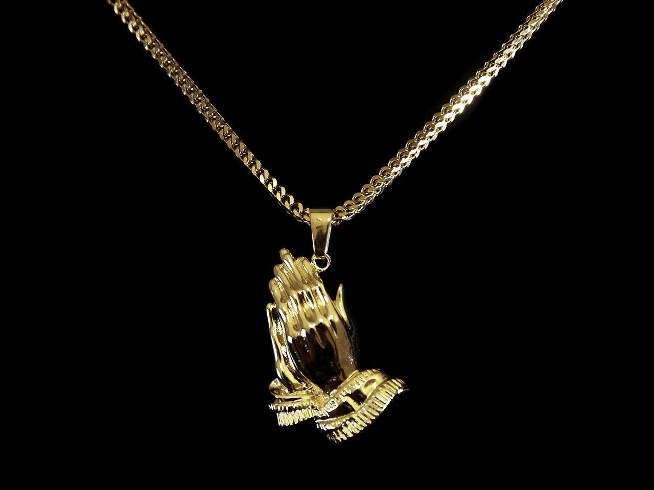 18k Gold Praying Hands Pendant 28 Inch Franco Gold 18k Gold Pendant
