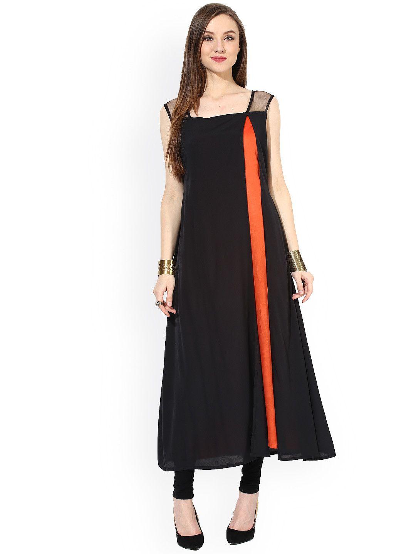 aef60e68b7 Buy Abhishti Black & Orange Kurta - Kurtas for Women | Myntra ...