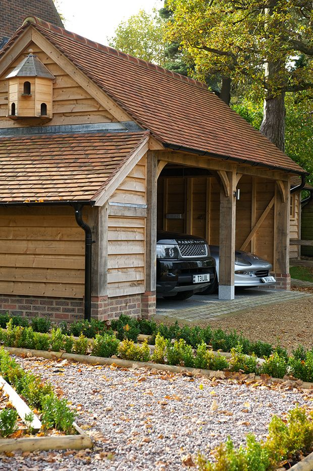 an oak frame garage by Border Oak Design garage, Garage