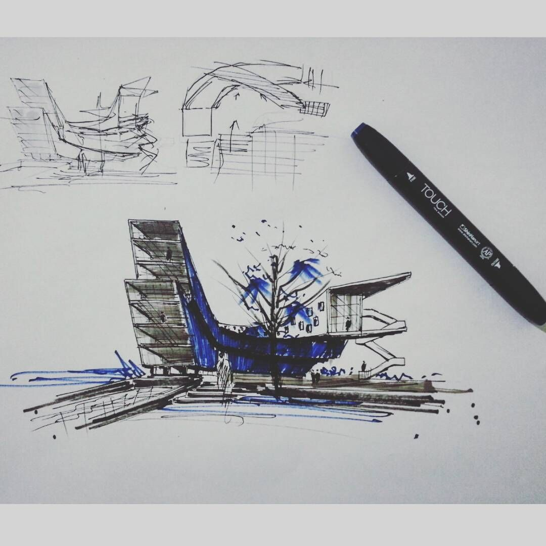 fast etood sketch (office building) #Art #arch #freehanddrawing ...