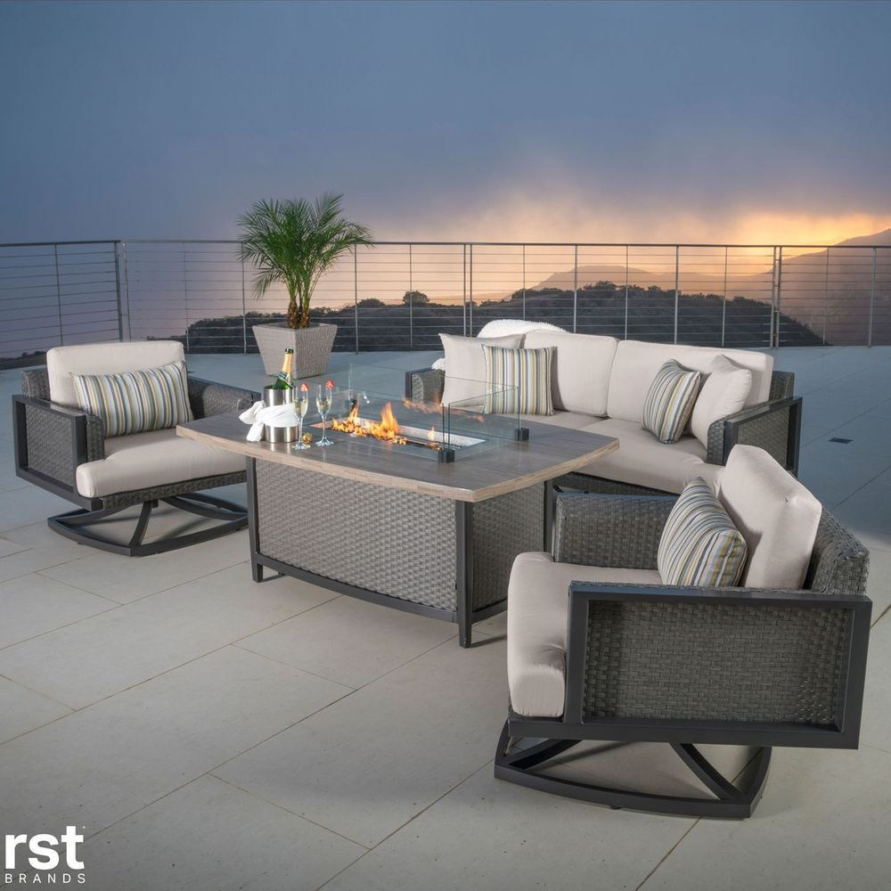 Vistano 4 Piece Fire Chat Seating Set Outdoor Furniture