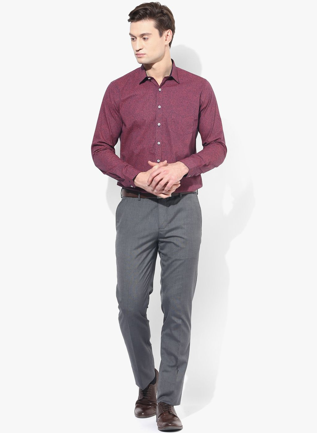 e58ab861aa Buy Van Heusen Wine Printed Slim Fit Formal Shirt for Men Online India