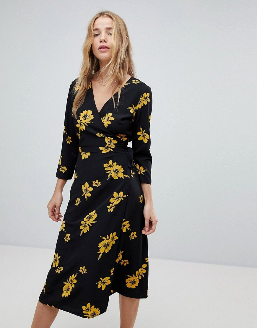 d477af46fd9a Miss Selfridge Floral Print Wrap Front Midi Dress