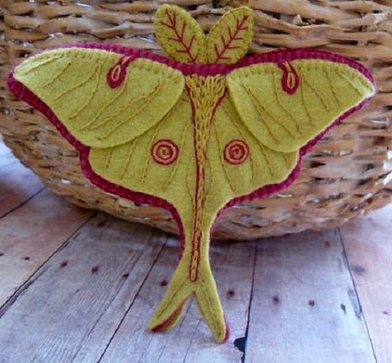 Luna Moth Brooch - Made to Order Embroidered Jewelry
