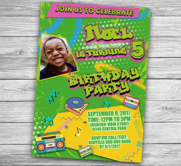 Retro Invitation Card 80s Look Fresh Prince Of Bel Air Birthday