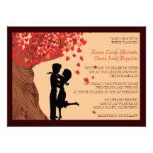 Love Couple #Falling Hearts Oak Tree #Wedding Invite