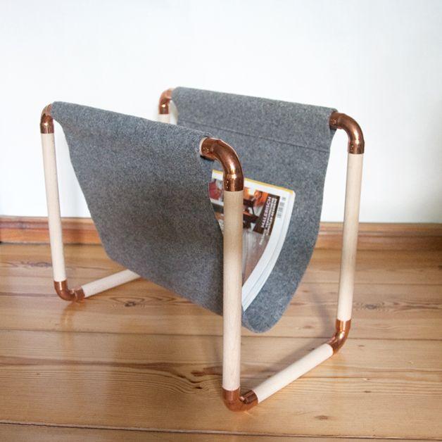 zeitschriftenst nder aus buchenholz und kupfer magazine rack out of wood and copper via. Black Bedroom Furniture Sets. Home Design Ideas
