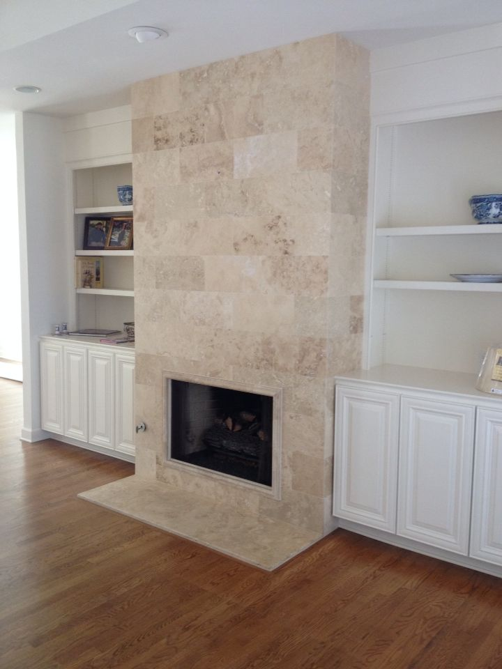 Travertine Fireplace Tile Stone Contemporary Decor