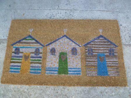Gisela Graham Shoreline Beach Hut Nautical Beach Door Mat Amazon Co Uk Door Mat Seaside Art Beach Hut