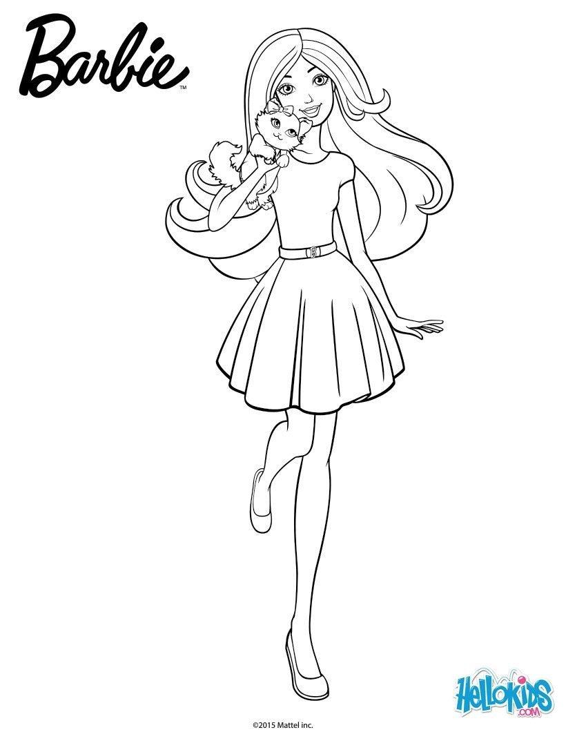 Barbie dans une jolie tenue avec sa belle jupe et son petit chat sur l