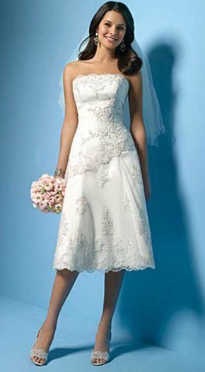 Feminine short strapless wedding dress for older bride | 2018 ...