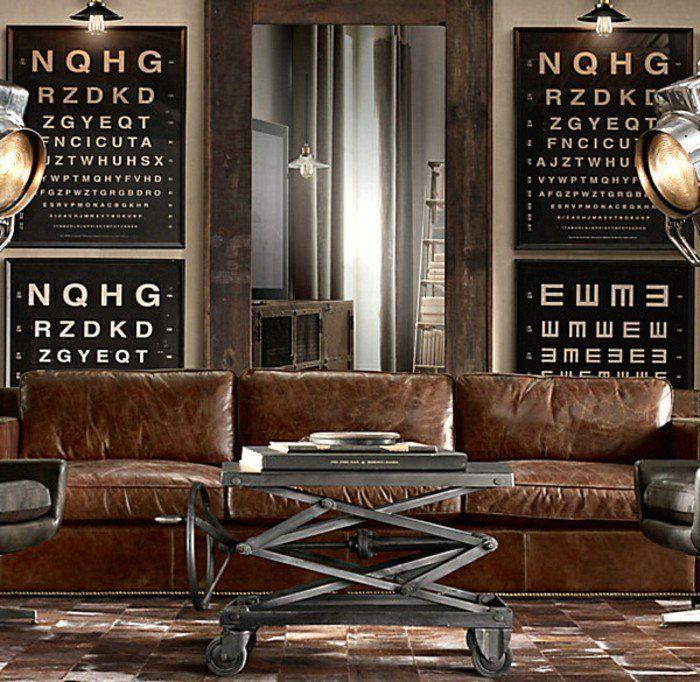 industrial möbel couchtisch metall rollen ledercouch braun boden - fliesen braun wohnzimmer