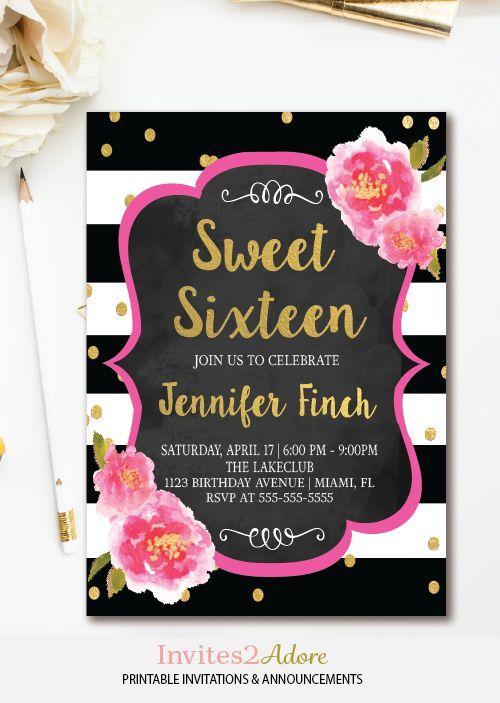floral sweet 16 invitation - black  u0026 white stripe sweet sixteen birthday invitation