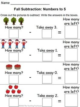 Fall Addition  Subtraction Within   Subtraction Worksheets