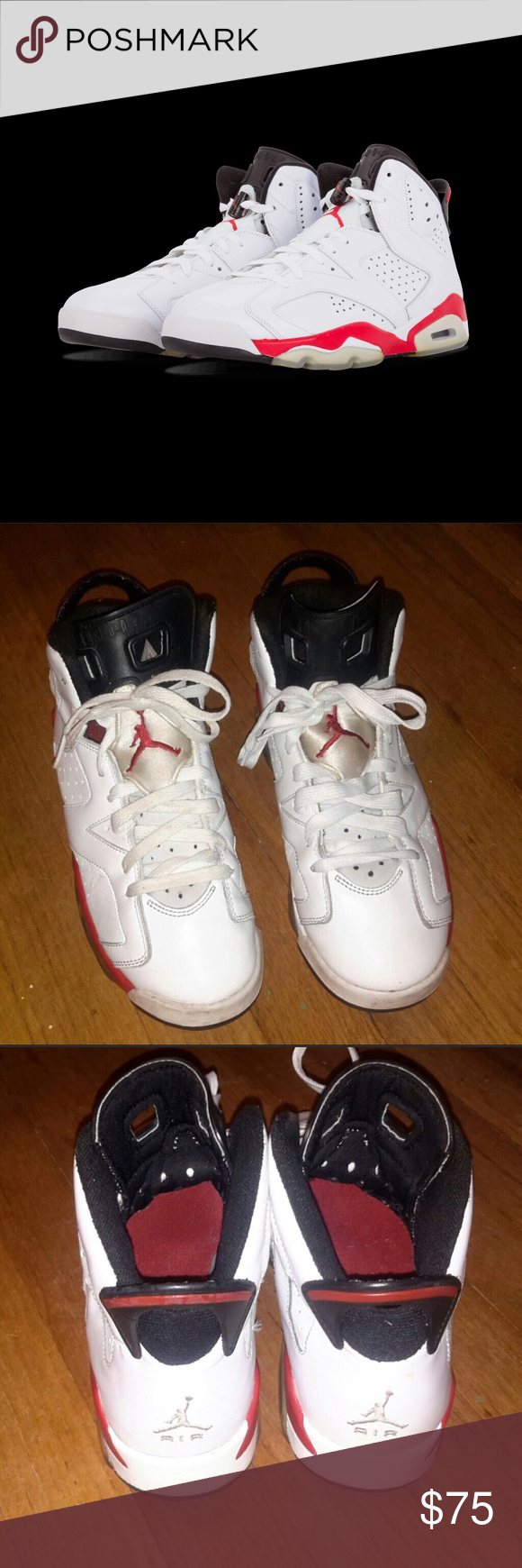 "bc56b4c4822fa3 Air Jordan 6 Retro ""Bulls"" White Varsity Red Black Classic pair of ..."