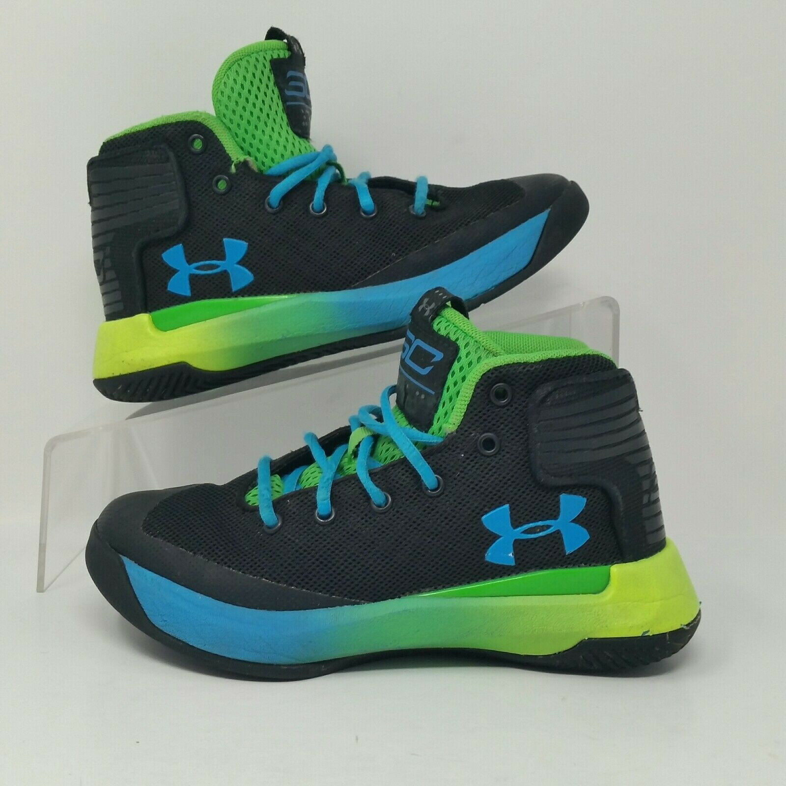 NEW Under Armour Steph Curry Boy Youth Basketball Shoes Blue Yellow Size 4Y