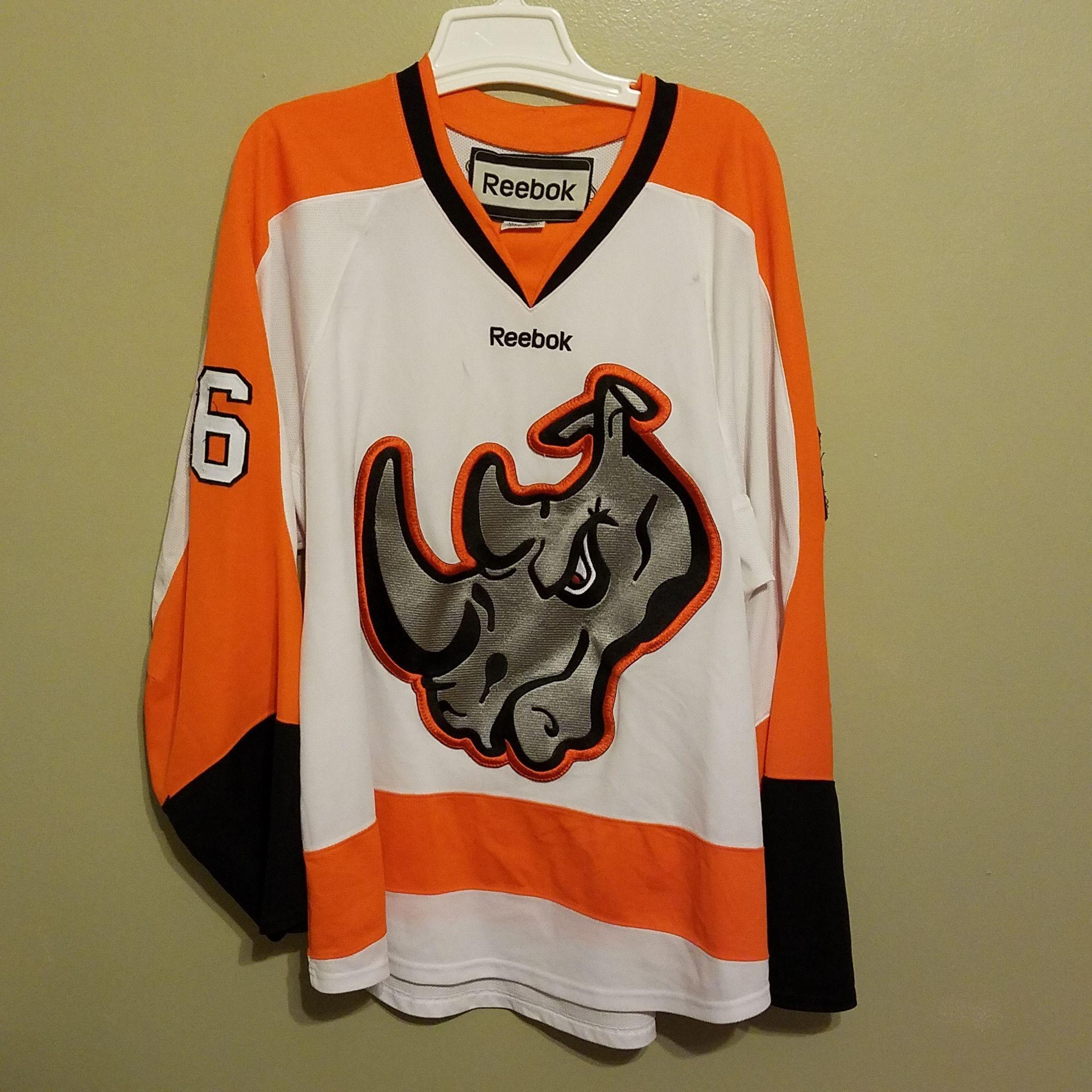El Paso Rhinos Game Used Hockey Jersey Size Xl Adult Orange Auto