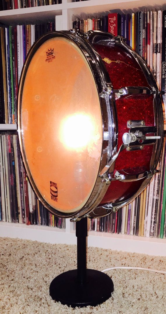 Vintage Red Sparkle Snare Drum Table Lamp With Mic By LitforaQueen