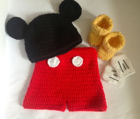 Handmade Crochet Mickey Mouse inspired outfit set (hat, shorts ...