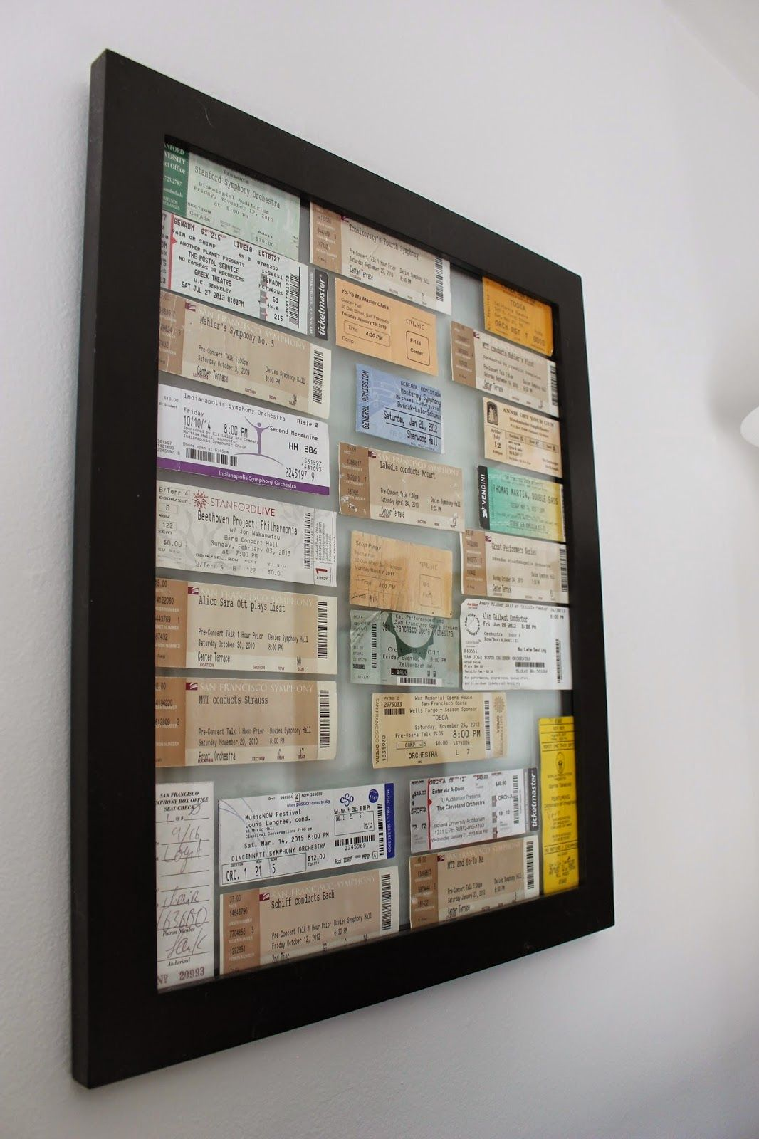 Framed Ticket Display Ticket Display Concert Ticket Art Diy Shadow Box