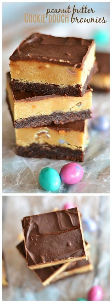 These Peanut Butter Cookie Dough Brownies are the perfect combination of salty and sweet.  And the peanut butter cookie dough contains no egg, so it's safe to eat right out of the bowl! | Kitchen Meets Girl