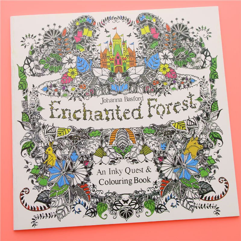 24 Pages Enchanted Forest English Edition Coloring Book For Children Adult Relieve Stress Kill Time Painting