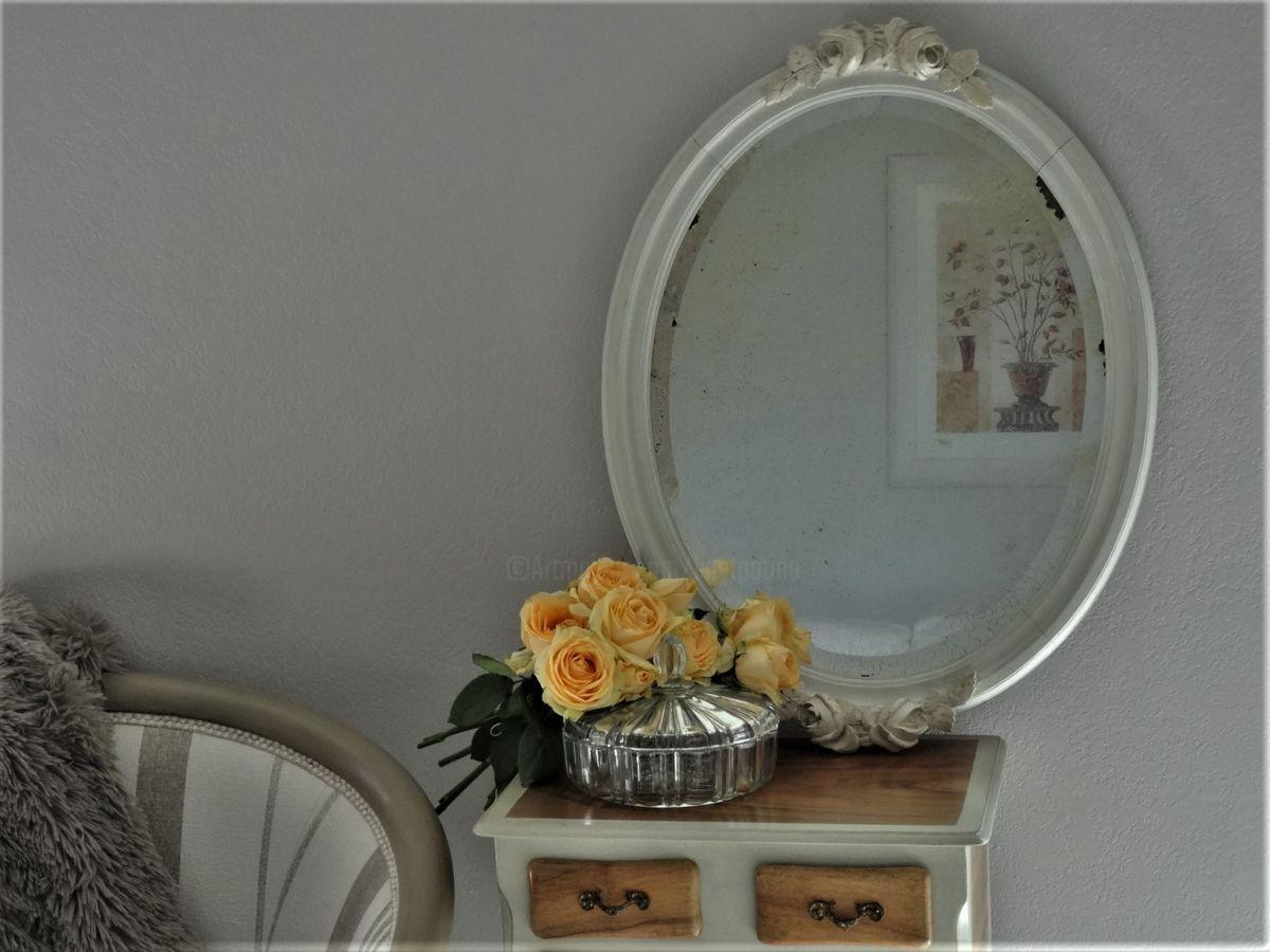 Miroir Sculpte Fleurs De Roses Patine Shabby Artisanat C 1900 Par