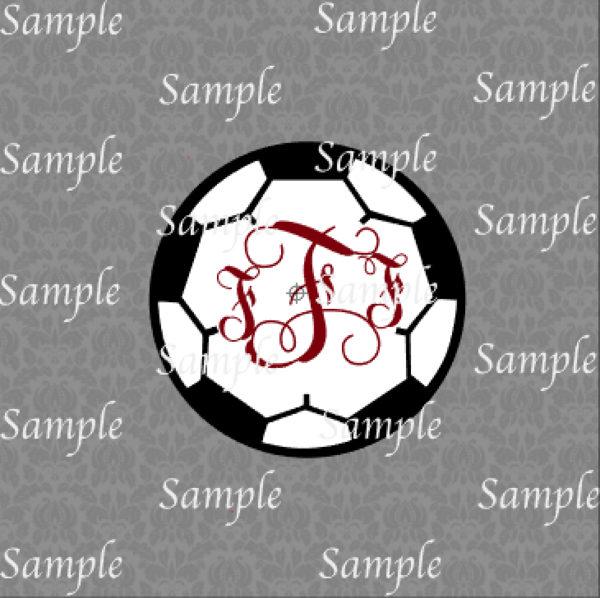 Soccer Monogram Frame SVG, DXF, EPS, PNG Digital File