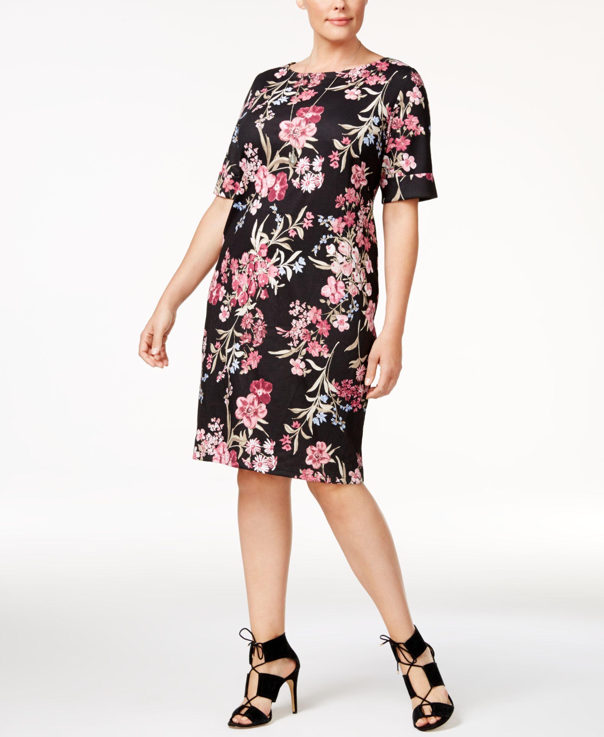 6698d6e12dc6 Karen Scott Plus Size Floral-Print Shift Dress, Only at Macy's ...