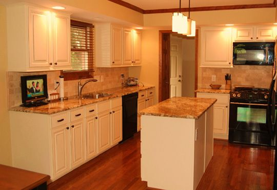View White Kitchen Cabinets With Stained Wood Trim Images ...