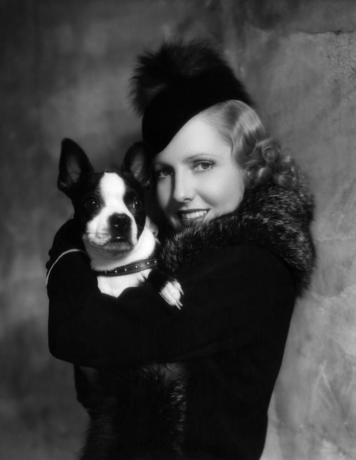 Actress Jean Arthur with a darling little Boston Terrier, 1935. #1930s #vintage #pets #dogs #fashion