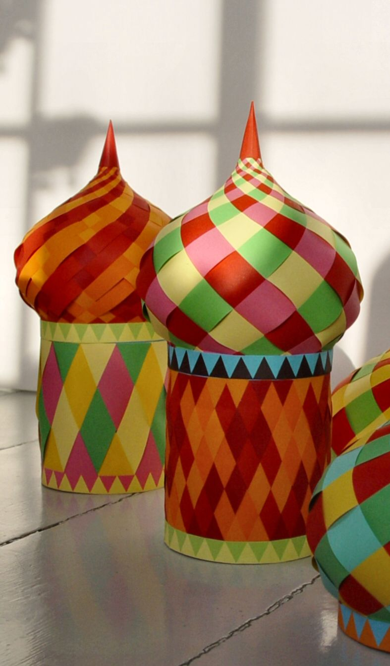 Instructions and pattern for this cool dome box you could make with color paper scraps: Russia Unit