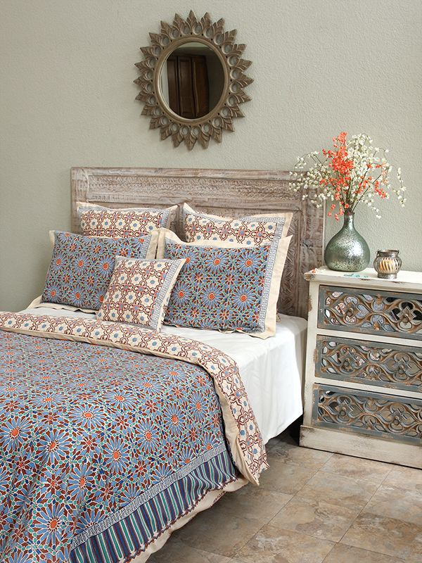 Moroccan Tile Print Blue King Duvet Cover Indulge Your E With Bedding Inspired By The Intricate Exotic Patterns Of Zellige