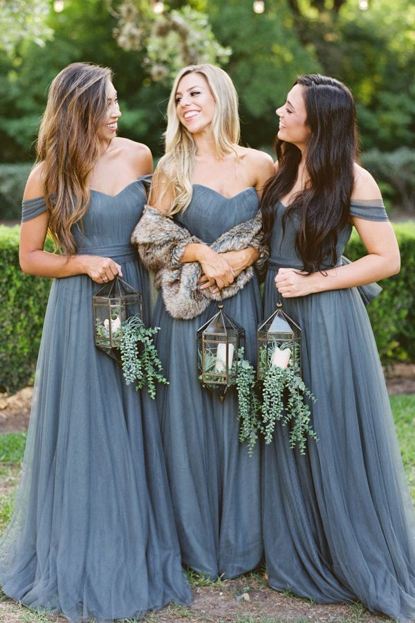 Simple Grey Tulle Bridesmaid Dress, Off Shoulder Long Bridesmaid Dress -   17 dress Bridesmaid tulle ideas