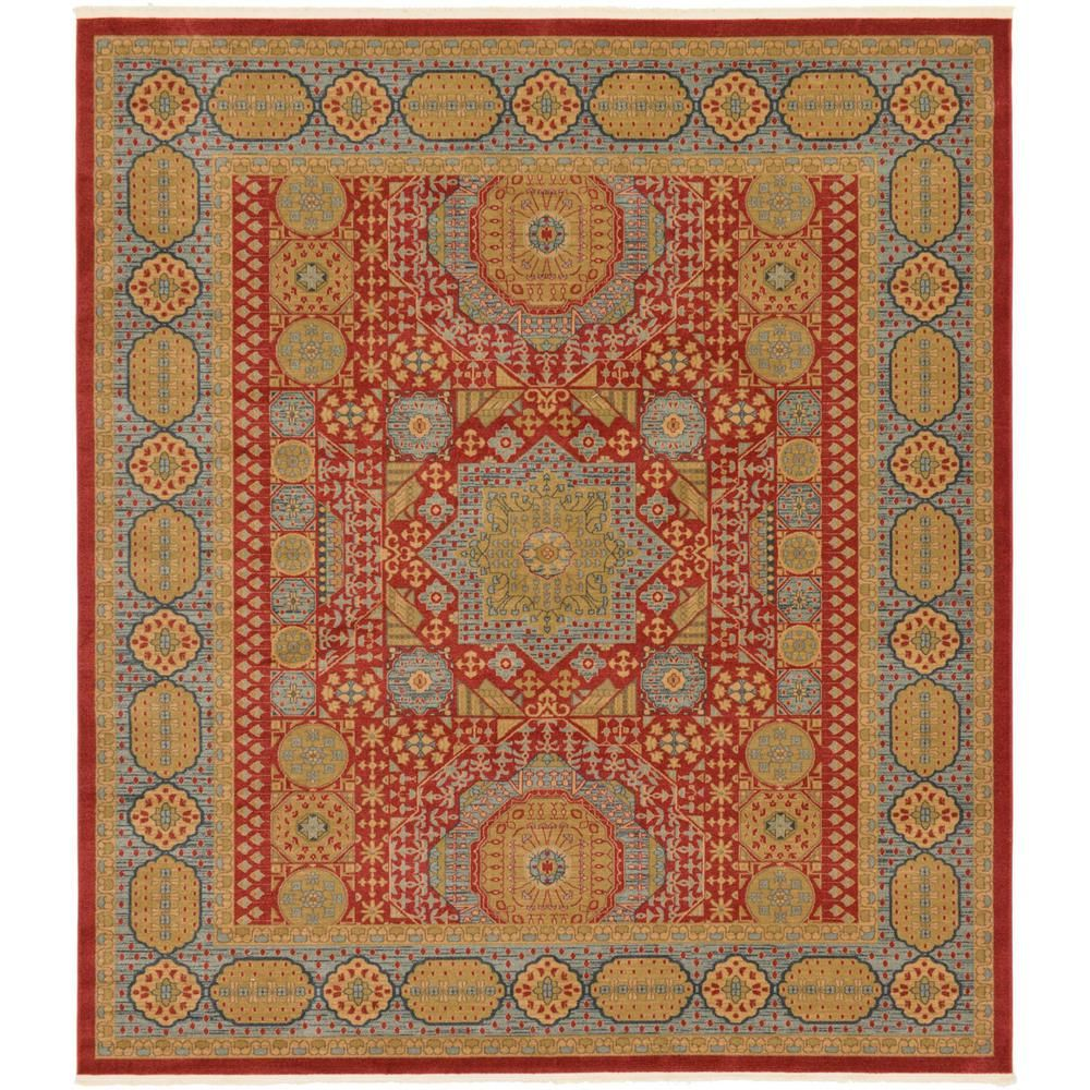 Unique Loom Palace Madison Red 10 0 X 11 4 Square Rug 3125678