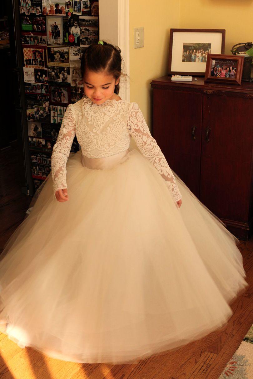 578c283cc69 White Ivory Champagne Alencon Chantilly Lace Leotard Tulle Skirt Flower  Girl Dress Wedding