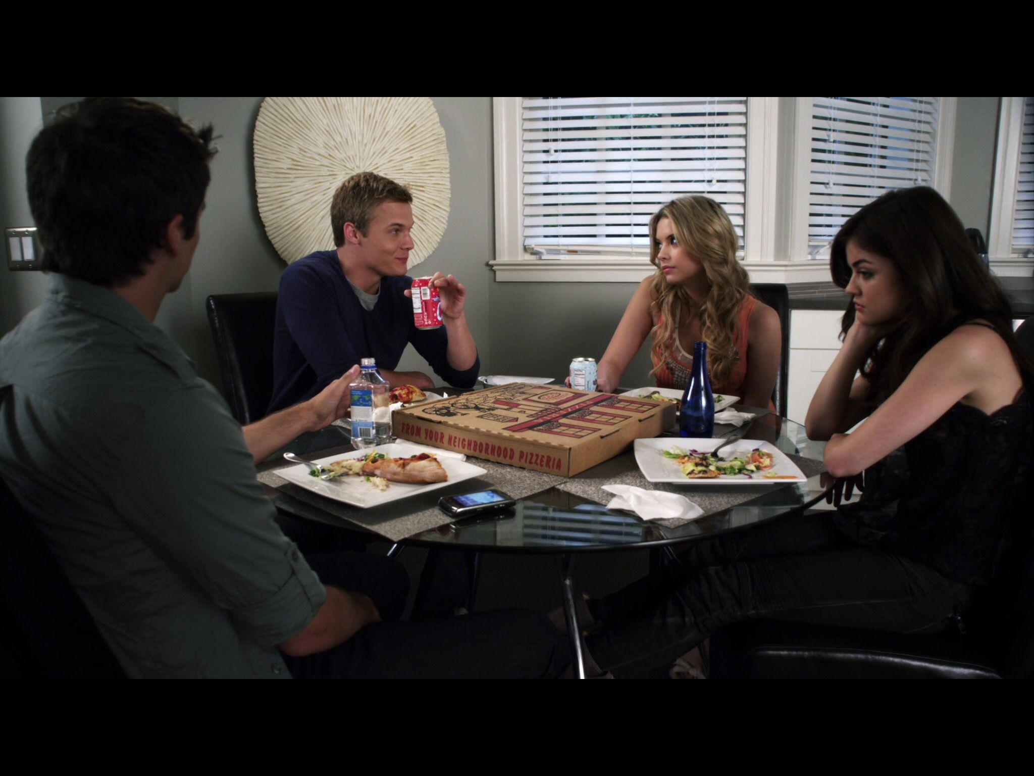 1x8 (aria and hanna at hanna's place hanging out with sean and noel)