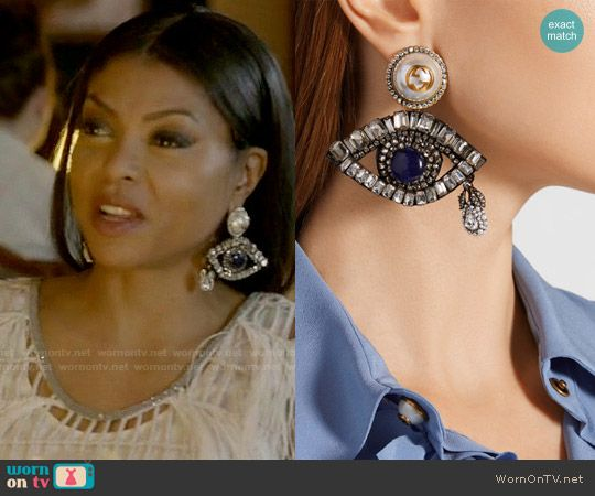 31a06e05e Gucci Gold-plated, Swarovski crystal and faux pearl clip earrings worn by  Taraji P. Henson on Empire