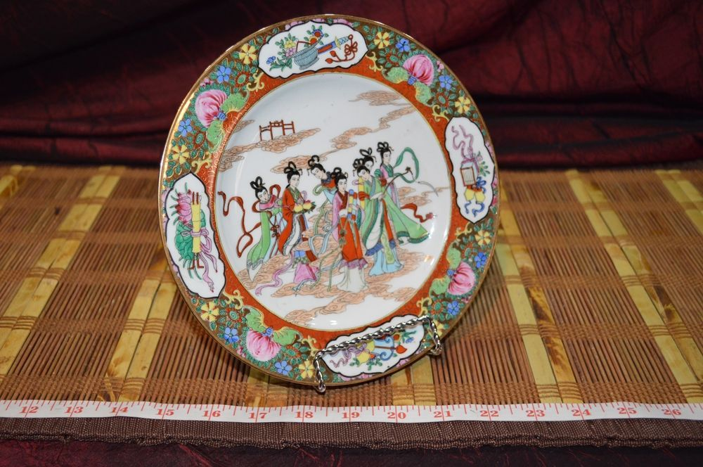 Porcelain Asian Hand Painted Geisha Girl Gold Decorative Plate 7 7/8\  #Unknown & Porcelain Asian Hand Painted Geisha Girls Gold Decorative Plate 7 7 ...