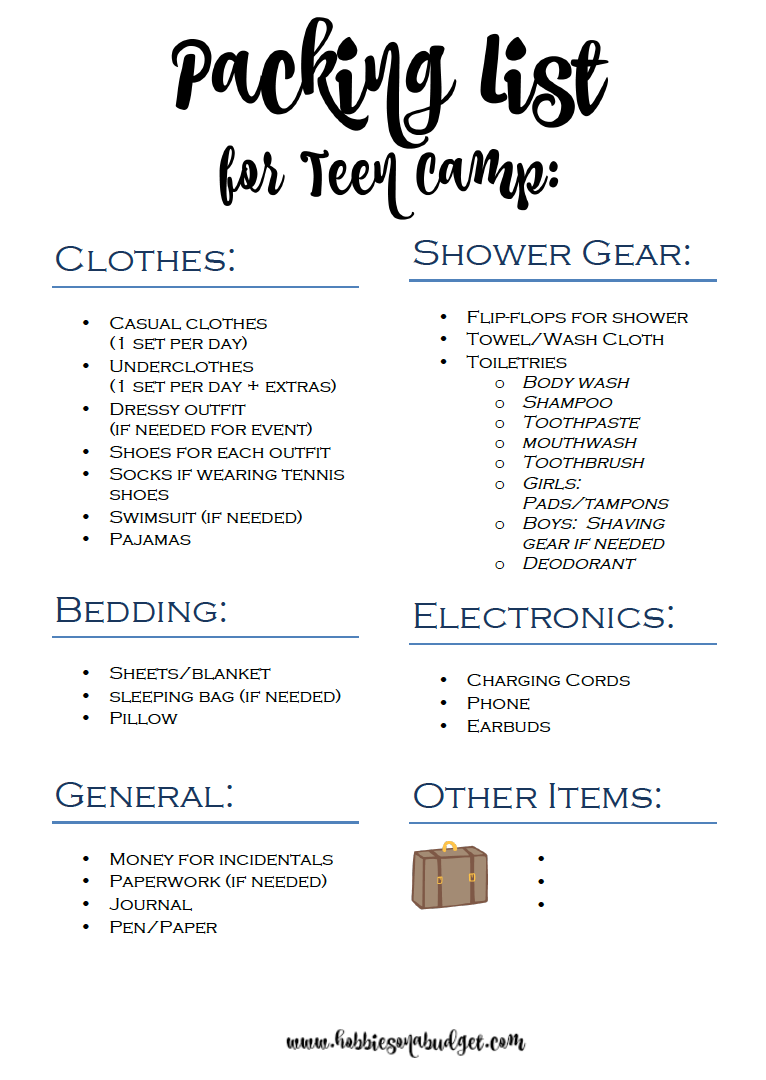 Packing List For Teen Summer Camp Summer Pinterest