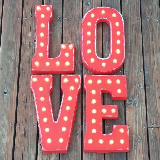 "Custom WEDDING RECEPTION 21"" Red ""LOVE"" Vintage Marquee Sign   #vintage #wedding #sign"